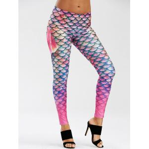 Scale Allover Print Mermaid Leggings - PURPLE M