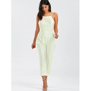Open Back Pleated Cami Jumpsuit - OFF-WHITE M