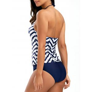 String Halter Anchor Zigzag Tankini Set