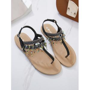 Beading Geometric Pattern Sandals - BLACK 39