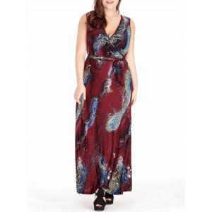 Feather Printed Plus Size Maxi Surplice Dress - Red - 3xl