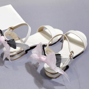 Faux Leather Back Bow Flat Sandals -