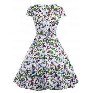 Allover Print Cut Out Vintage Choker Dress -