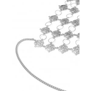 Rose Flower Triangle Body Bra Chain - Argent