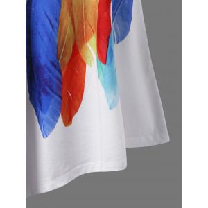 Plus Size Long Feather Print Asymmetric T-Shirt -