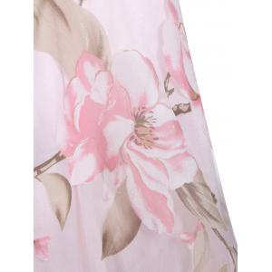 Floral Printed Sleeveless Organza A Line Midi Dress - PINK L
