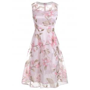 Floral Printed Sleeveless Organza A Line Midi Dress - Pink - 2xl