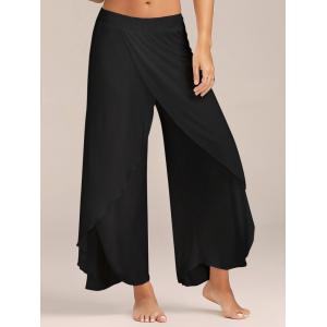 Flowy Layered High Waisted Slit Palazzo Pants - BLACK M