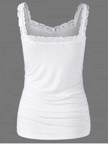 Outfit Lace Trim Ruched Tank Top - L WHITE Mobile