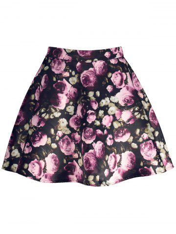 Trendy Floral Print High Waisted A Line Skirt BLACK M