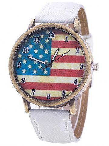 Best Stars And Stripes Flag Number  Jeans Watch WHITE