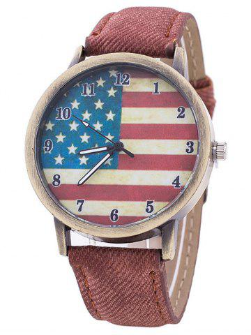 Stars And Stripes Flag Number  Jeans Watch - Coffee