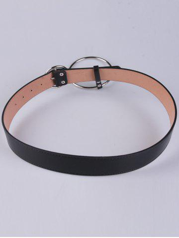 Hot Faux Leather Waist Belt with Metal Rings - BLACK  Mobile