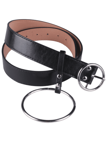 Buy Faux Leather Waist Belt with Metal Rings - BLACK  Mobile
