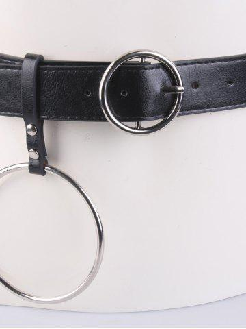 Best Faux Leather Waist Belt with Metal Rings - BLACK  Mobile