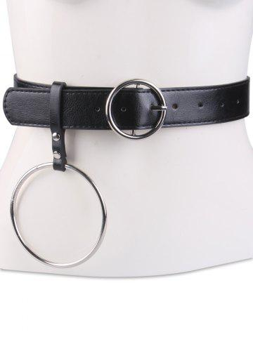 Trendy Faux Leather Waist Belt with Metal Rings BLACK