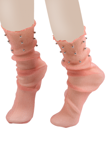 Lurex Fil Mesh Socks avec perles Orange Rose