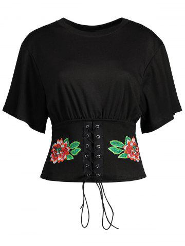 Discount Floral Embroidered Lace Up Tee