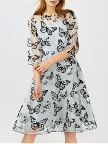 Fancy Sheer Butterfly Organza Dress With Sleeves
