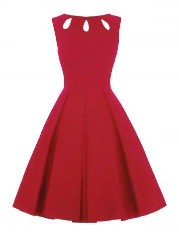 Sale Cut Out Skater Dress RED 2XL