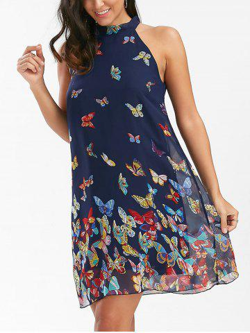 Shop Butterfly Print Sleeveless Chiffon Dress PURPLISH BLUE XL
