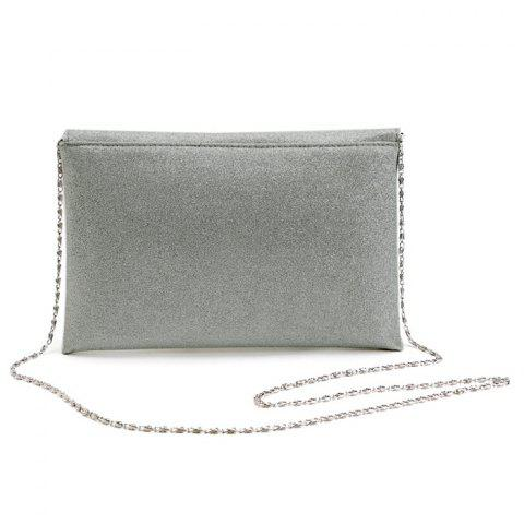 Fancy Glitter Clutch Bag with Chain - SILVER  Mobile