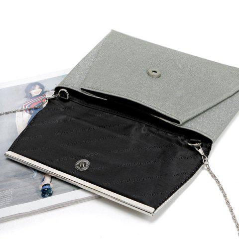 Hot Glitter Clutch Bag with Chain - SILVER  Mobile