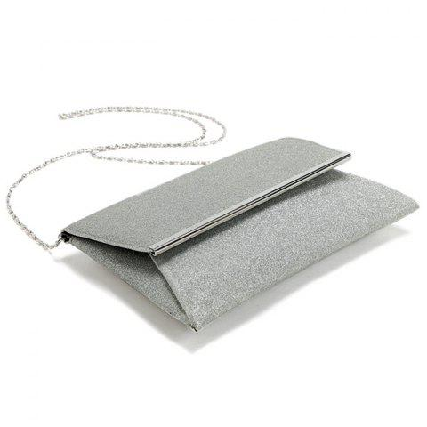Store Glitter Clutch Bag with Chain - SILVER  Mobile