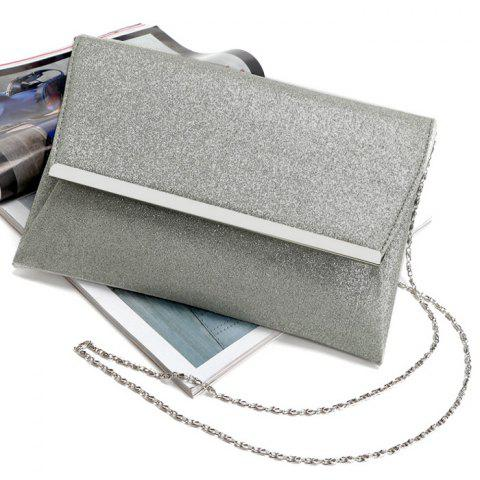 Shop Glitter Clutch Bag with Chain - SILVER  Mobile