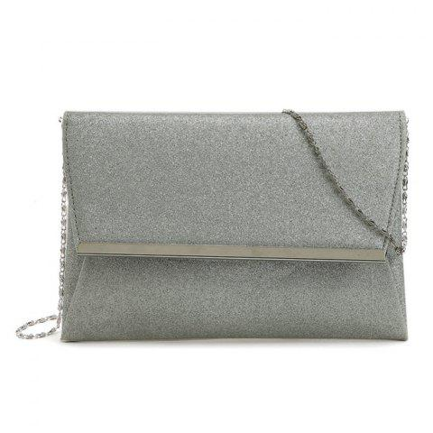 Affordable Glitter Clutch Bag with Chain - SILVER  Mobile