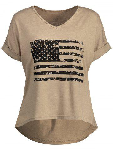 Outfit High Low Patriotic Distressed American Flag T-shirt KHAKI M