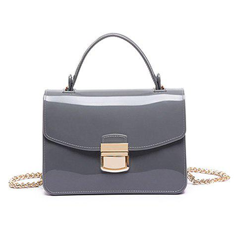 Chain and Metal Detail Jelly Handbag - Gray - 37