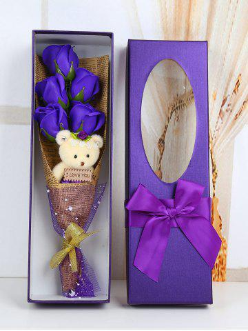 Outfit 5 Pcs Handmade Rose Soap Artificial Flower and Bear PURPLE