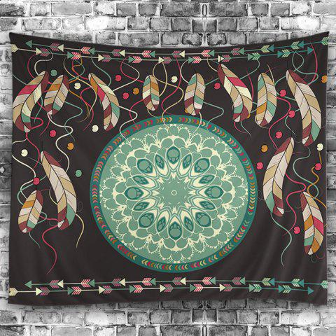 Buy Wall Hangings Art Decor Feather Mandala Print Tapestry - W59 INCH * L51 INCH COLORMIX Mobile