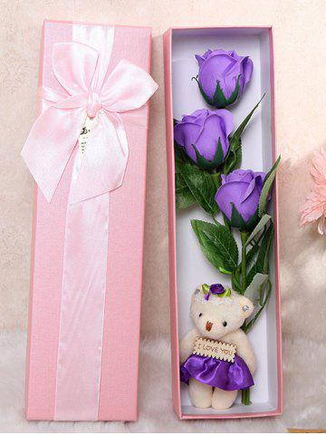 Affordable 3 Pcs Handmade Soap Rose Artificial Flower and Bear PURPLE