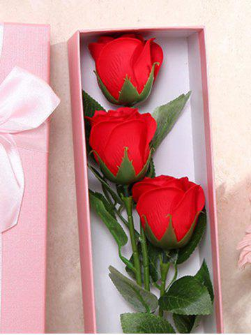 Trendy 3 Pcs Handmade Soap Rose Artificial Flower and Bear - BRIGHT RED  Mobile