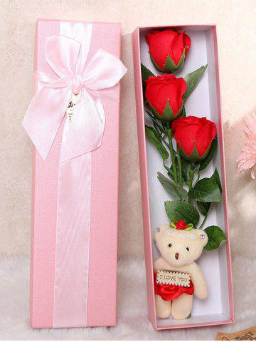 New 3 Pcs Handmade Soap Rose Artificial Flower and Bear - BRIGHT RED  Mobile