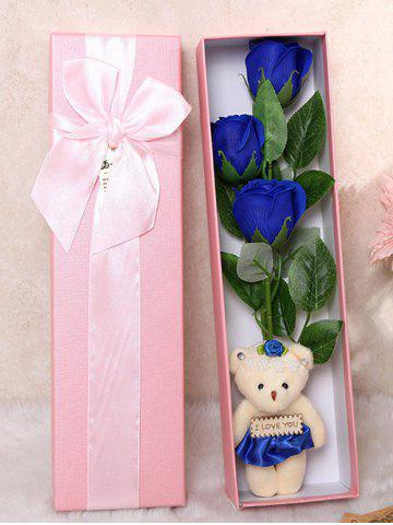 Trendy 3 Pcs Handmade Soap Rose Artificial Flower and Bear