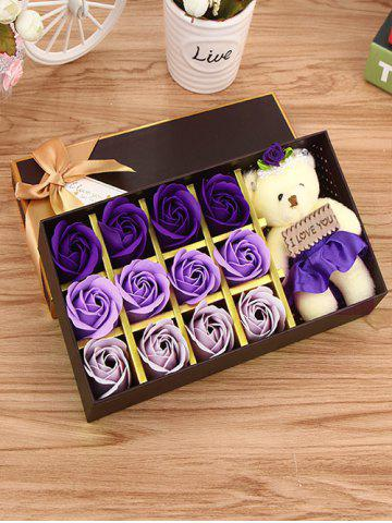 Chic 12 Pcs Gradient Rose Soap Artificial Flowers and Bear