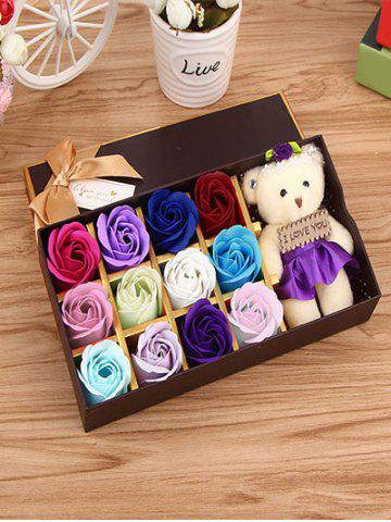 Discount 12 Pcs Gradient Rose Soap Artificial Flowers and Bear
