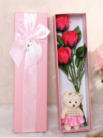 Shop 3 Pcs Handmade Soap Rose Artificial Flower and Bear