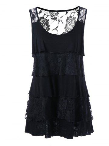 Outfit Lace Panel Layered Plus Size Tank Top BLACK 2XL