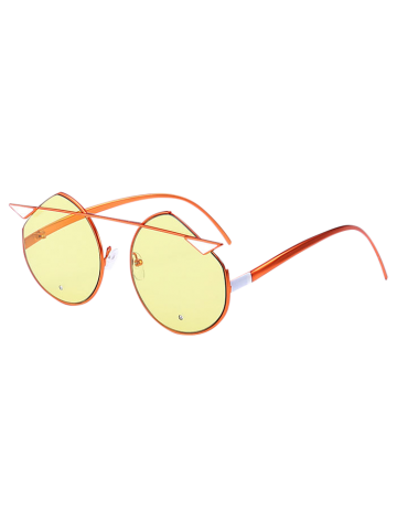 Cat Eye Metallic Crossbar Mirror Cut Sunglasses - Pearl Brassy