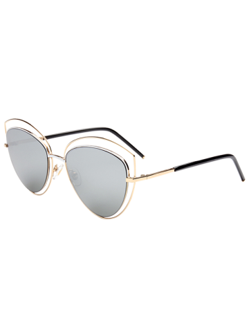 Online Reflective Wide Cat Eye Shape Mirror Sunglasses - GOLD FRAME + SILVER LENS  Mobile