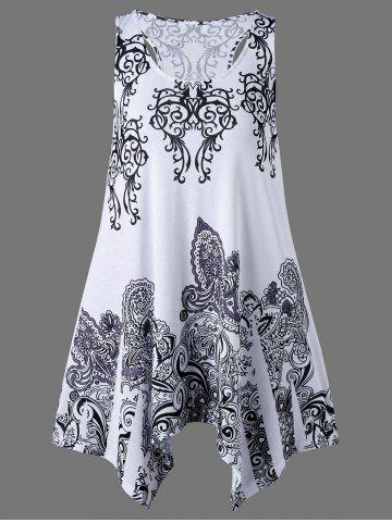 Affordable Paisley Print Racerback Dressy Tank Top - L WHITE Mobile