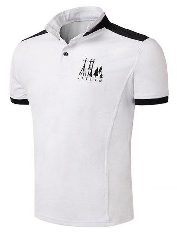 Unique Stand Collar Color Block Panel Embroidered T-Shirt - XL WHITE Mobile