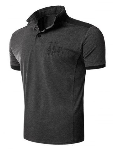 Outfit Stand Collar Color Block Panel Embroidered T-Shirt - XL GRAY Mobile