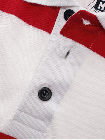 Fashion Broad Stripe Badge Embroidered Polo T-Shirt - M RED Mobile