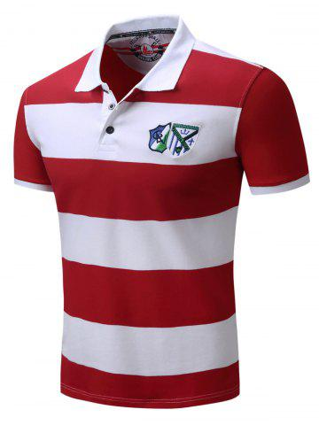 Shop Broad Stripe Badge Embroidered Polo T-Shirt - M RED Mobile