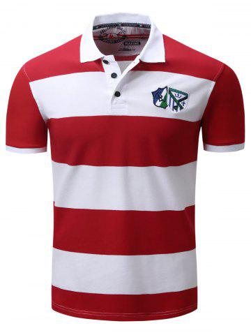 Shop Broad Stripe Badge Embroidered Polo T-Shirt - L RED Mobile